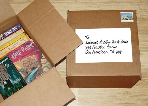 a box of book going to Internet Archive